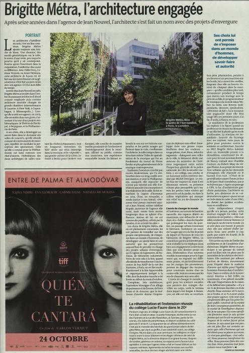 Le Monde Portrait Brigitte Métra-19 10 2018-entier